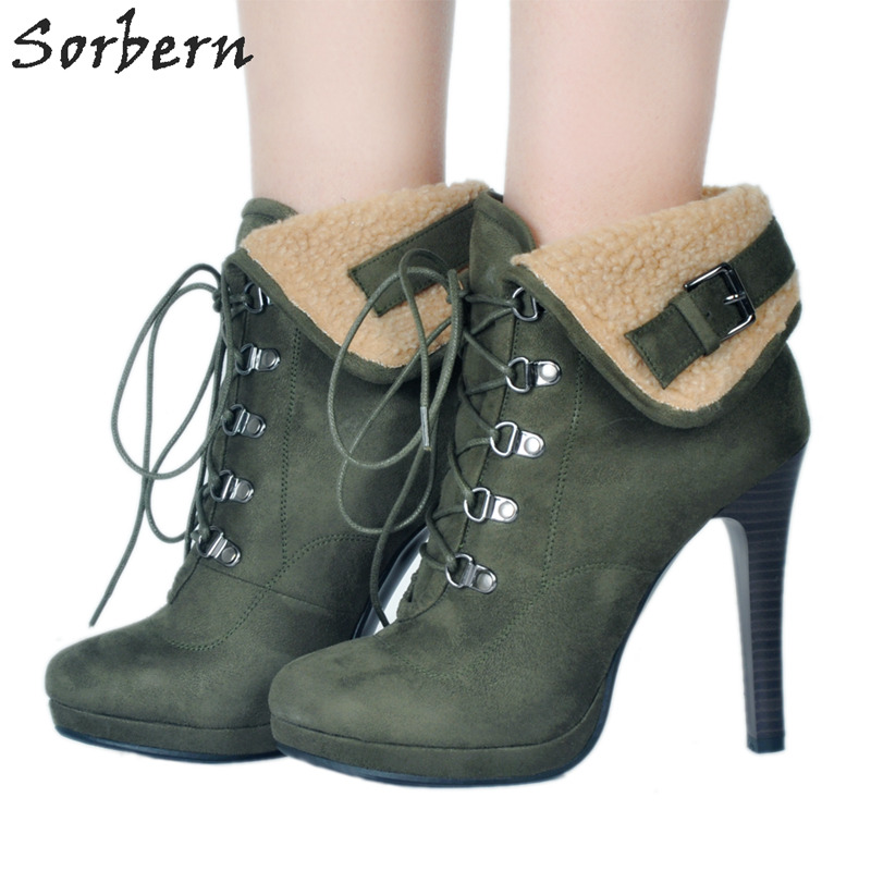 Sorbern Green Platform Boots For Women Platform Shoes Fake Wool Decoration Ladies Shoes Size 44 Botte Fausse Fourrure 2018