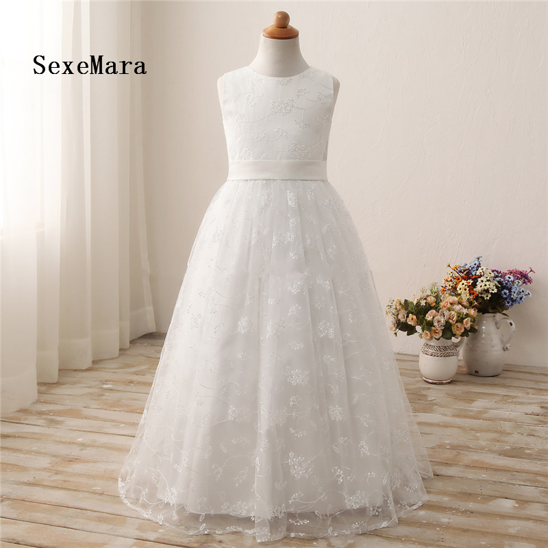 High Quality Real Picture Flower Girl Dresses 2-16Y White Long First Communion Dresses for Girls vestido daminhaHigh Quality Real Picture Flower Girl Dresses 2-16Y White Long First Communion Dresses for Girls vestido daminha
