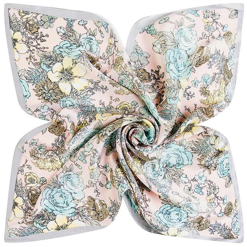 Bufanda de las mujeres 2017 nueva impresión Floral Headband niñas sensación de seda bufanda cuadrada bufandas del Mantón Bandana del escudo 60*60 cm