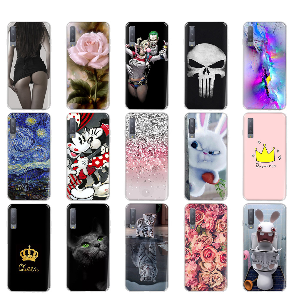 For Samsung A7 2018 Case Silicone Painting Soft Coque For Samsung Galaxy <font><b>A72018</b></font> A10 A20 A40 A30 A50 A70 A90 Case Cover Tiger image