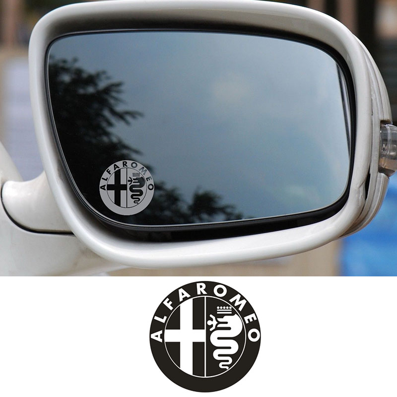 2pcs Alfa Romeo Badge Glass Effect Car Styling Wing Mirror Decal Stickers #0113