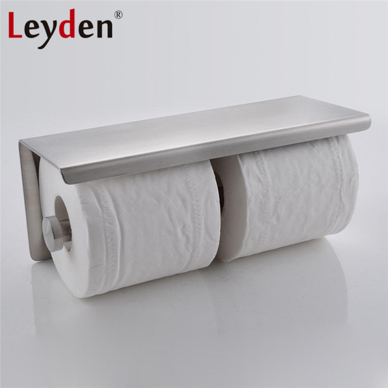 Accessory Bathroom with Toilet Stainless Nickel Mounted Brushed Paper  Wall Holder Double Leyden Steel Shelf Mobile Phone 2
