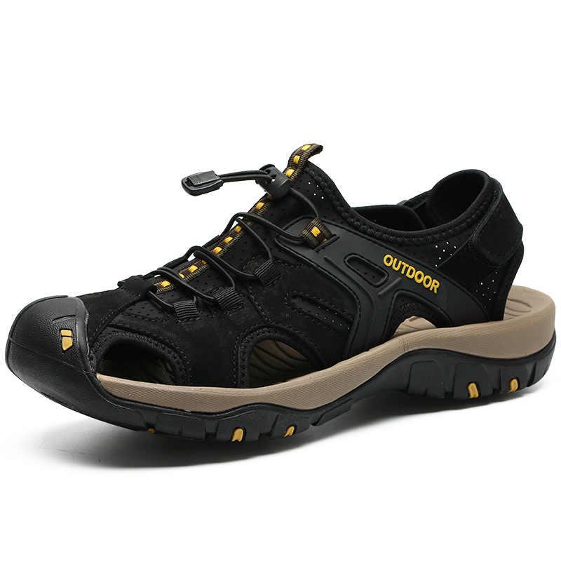 2019 Yeni Erkekler Yaz Sandalet Hakiki Deri rahat ayakkabılar Adam Roma Tarzı plaj sandaletleri Marka Erkekler Yaz Ayakkabı Boyutu 38-48