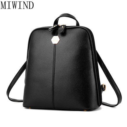 MIWIND  Women PU Leather Preppy Style School Backpack Mini Backpack School Bag for Teenagers Girls Travel Back Bags TYG889 2017 new fashion backpacks men travel backpack women school bags for teenagers girls pu leather preppy style backpack