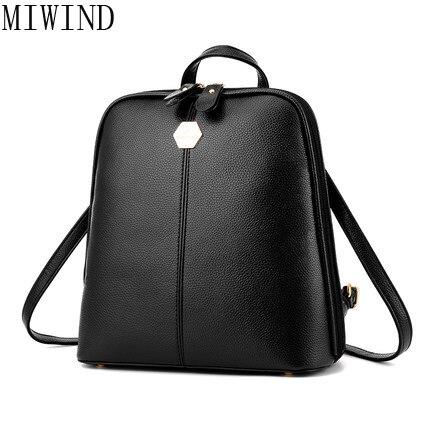 MIWIND femmes PU cuir Preppy Style école sac à dos Mini sac à dos cartable pour adolescents filles voyage dos sacs TYG889