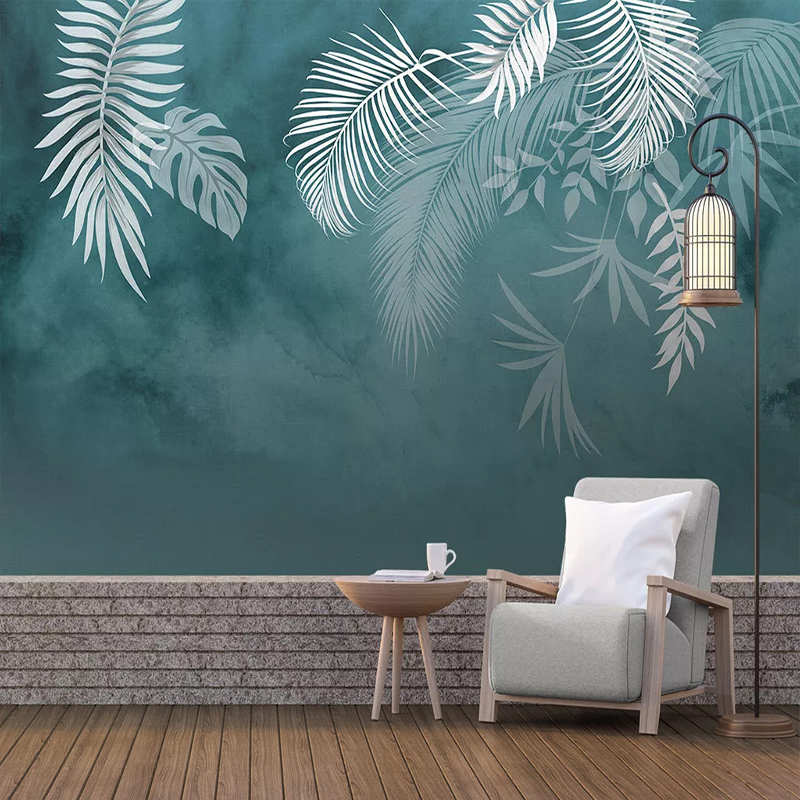 Modern Simple Hand Painted Leaf Mural Wallpaper 3D Home Decor Living Room Bedroom Sticker Strong Stickiness Photo Wallpapers 3 D