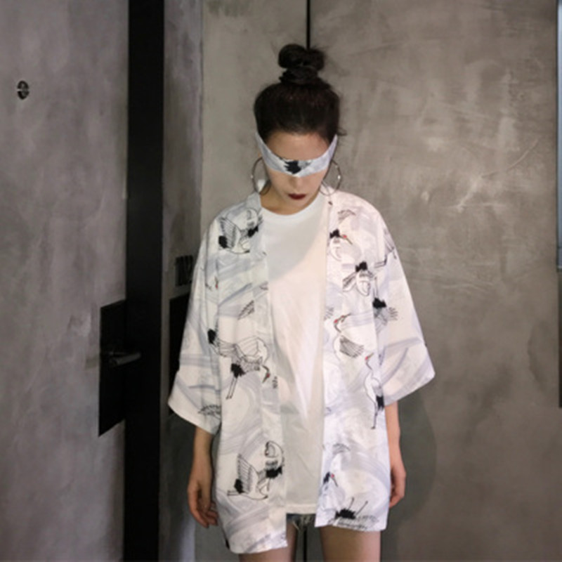 Plus Size Harajuku Cartoon Digit Print 2018 Summer Kimono Cardigan Womens Feminino Outerwear 100% Original b102