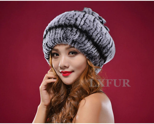 2017 Fashion Ladies Knitted Rex Rabbit Fur Hats Caps With Rich Elasticity Casual Womens Winter Warm Headwear LX00228