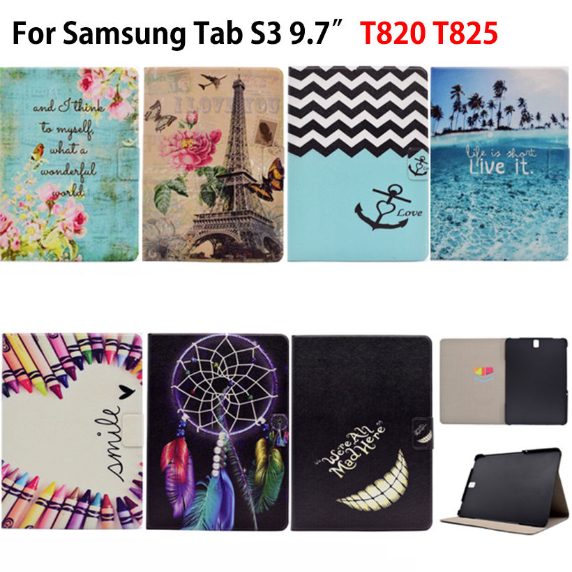 Fashion Cartoon Painted Case For Samsung Galaxy Tab S3 9.7 T820 T825 Cases Cover Funda Tablet PU Leather Flip Stand Skin Shell new luxury pu leather case for samsung galaxy tab s3 9 7 t820 t825 flip stand cover tablet case for samsung galaxy tab s3 t820