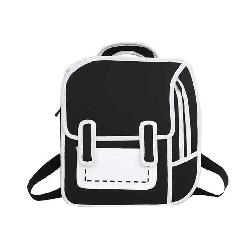 fd9590d8b0 Comic Backpack For Girl Personality 3D Stereo Bags New Women Cartoon Canvas  Backpack Messenger Tote Fashion