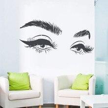 Hot Selling Beautiful Eyelashes Eye Wall Sticker Decal Vinyl Girls Eyes Eyebrows Decals Modern Home Decor Art Salon j952