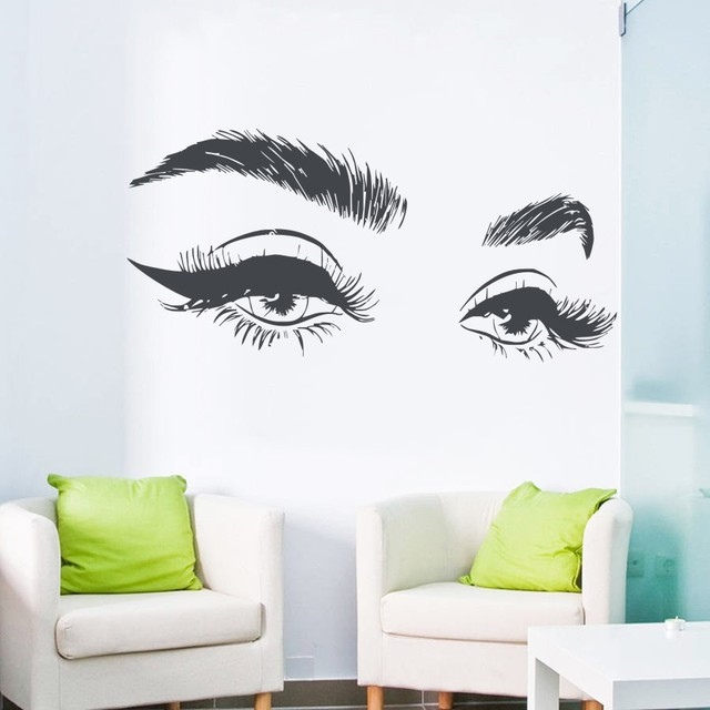 Hot Selling Beautiful Eyelashes Eye Wall Sticker Decal Vinyl Girls Eyes Eyebrows Wall Decals Modern Home Decor Art Salon j952