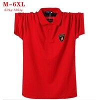 Мужская рубашка поло с коротким рукавом, повседневная красная хлопковая рубашка поло большого размера 5xl 6xl, лето 2019