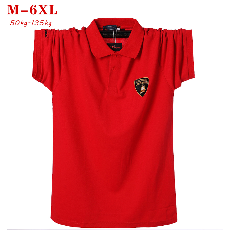 2019 Short Sleeve Polo Shirt Men Brand Polo Shirts Summer Casual Large Size Top Fashion Red Cotton Polo Shirts Plus Size 5xl 6xl