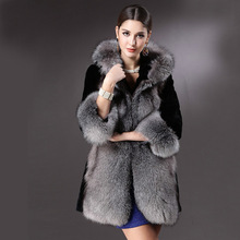 2016 new fox fur imitation fur coat long section of European and American Fan Rex imitation mink hair hooded fur free shipping