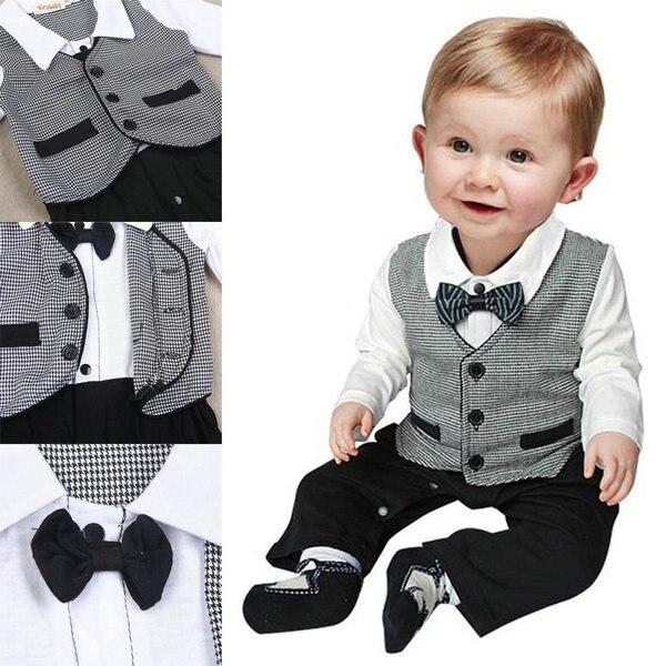 Beste Preis 1 stück Kind Jungen Baumwolle Gentleman Spielanzug-overall Babybodysuitkleidung Outfit 1-3 T