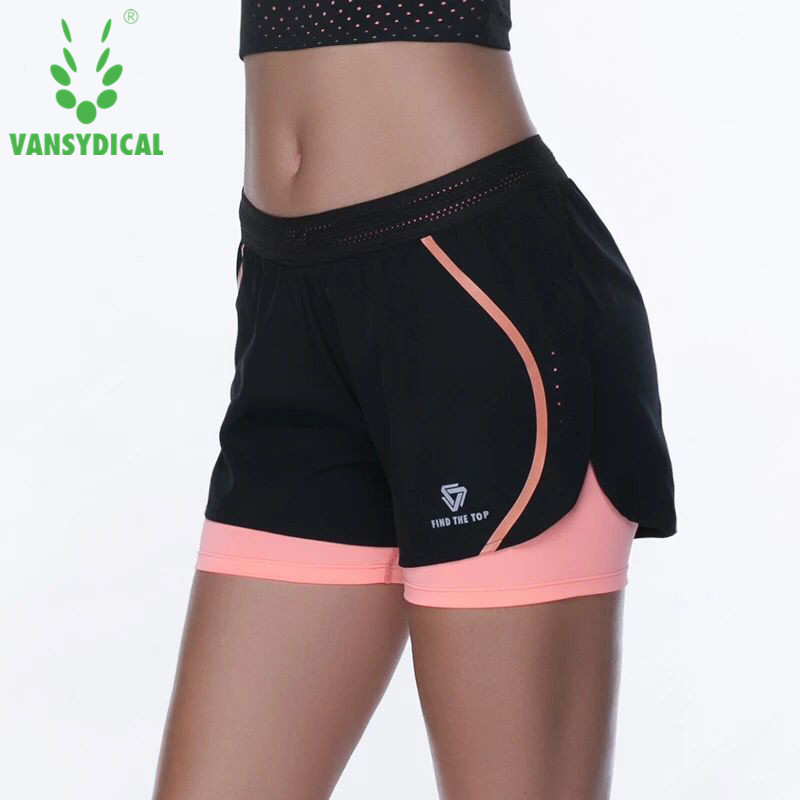 @1  Vansydical Женские шорты для йоги 2 в 1 Спортивные тренировочные шорты для бега Двухслойные фитнес-т ★