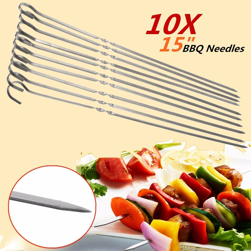 10PCS 38cm Stainless Steel BBQ Barbecue Roast Kabob Grilling Grilled Needles Flat Shish Skewers Ring Tip Handle Gadget Cutlery