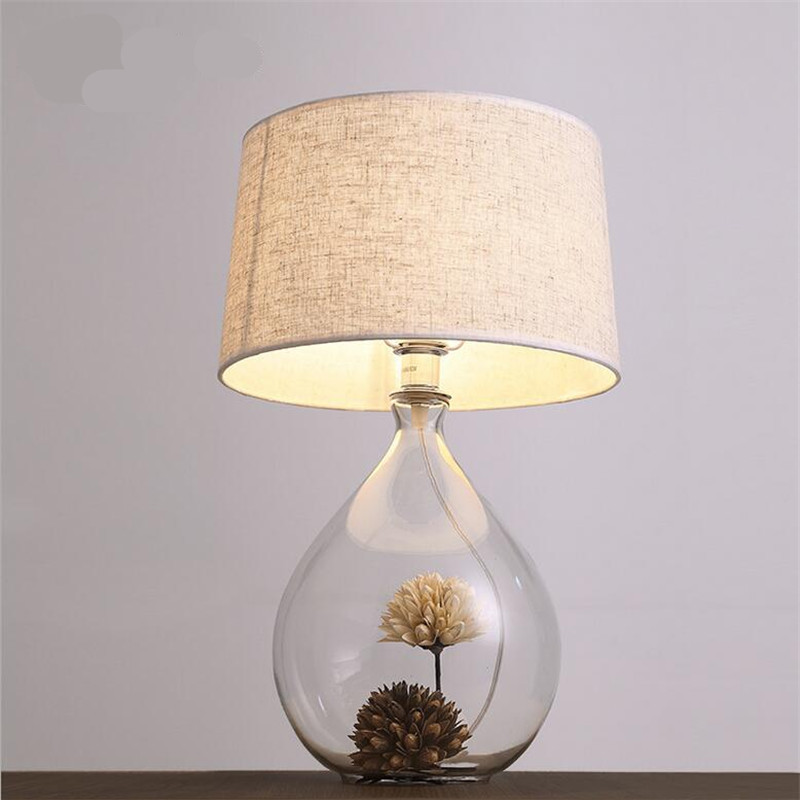 Creative Handmade Country Brief Glass Vase Fabric Led E27 Table Lamp for Wedding Decor L ...