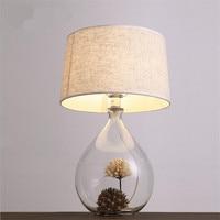 Creative Handmade Country Brief Glass Vase Fabric Led E27 Table Lamp for Wedding Decor Living Room Bedroom Restaurant 1451