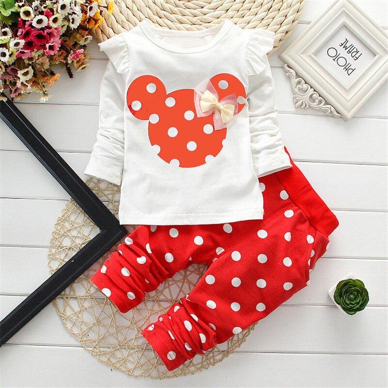 New Girls spring clothes sets, princess bowtie Minnie T-shirt pants children cartoon design cotton 3 colors