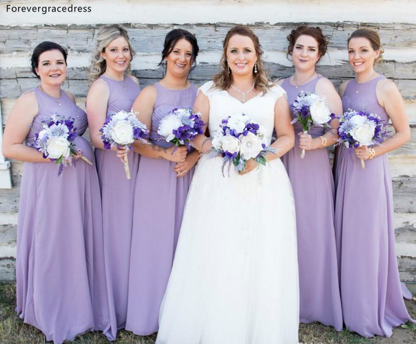 Cheap Chiffon   Bridesmaid     Dresses   2019 Lavender Summer Beach Country Garden Wedding Party Guest Maid of Honor Gowns Plus Size