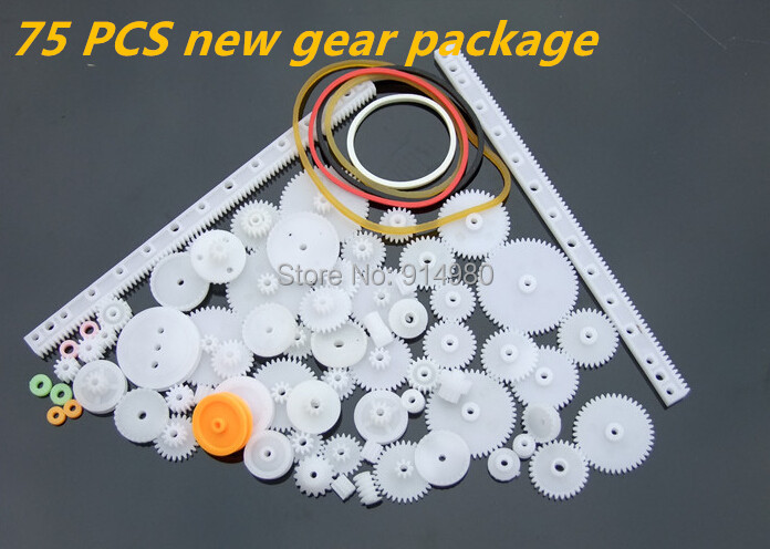 New package75PCS a lot,Plastic gear,rack,pulley,belt,Worm gear,Single-and double-gear,8-56 teeth,Used in toy cars, robots, model