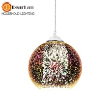 Modern 3D Plated Colorful Lamplight Glass Pendant Lamp Foyer Mall Lamp DIA:15/20/30/35/40CM E27 110-240V Free Shipping