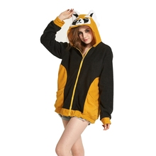 Raccoon Women Men Hoodie Animal Cartoon Jacket Cosplay Tracksuits Zipper Gardigan Sweatshirts(China)