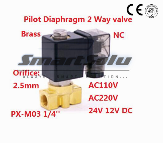 Free shipping Normally Closed Two Way Pilot Diaphragm water Brass Solenoid Valve 1/4 BSP 12V DC 2.5mm PX-M03 NBR