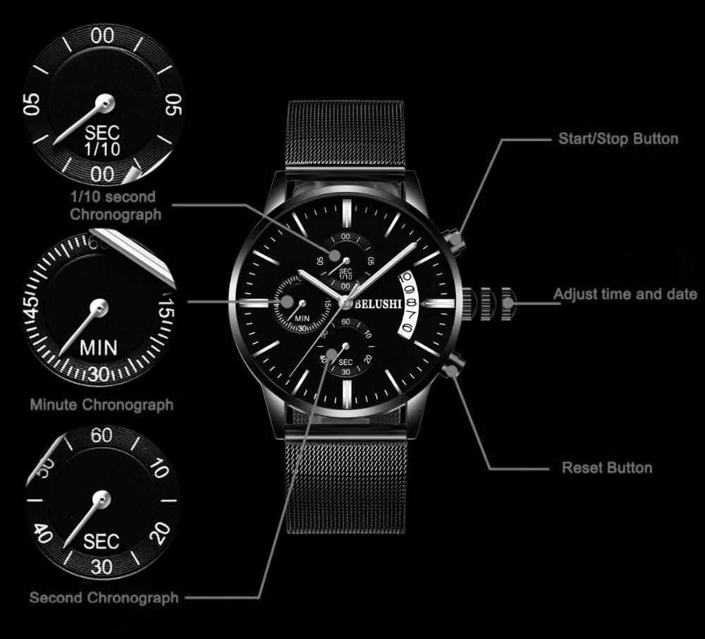 Լավագույն շքեղ բրենդային Chronograph Full - Տղամարդկանց ժամացույցներ - Լուսանկար 4