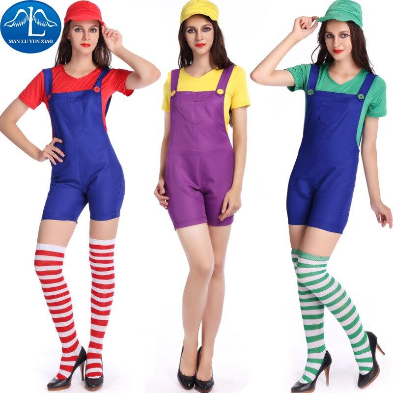 MANLUYUNXIAO Super Mario Women Costume Halloween Party Super Mario Costumes Outfit Bling Bling Cosplay Costume Wholesale