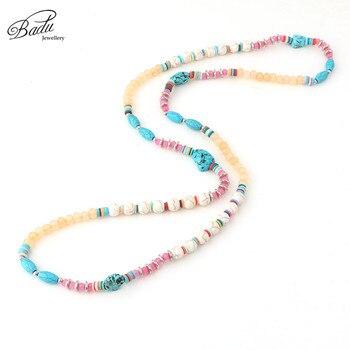 ea20e2d053db Badu Tur Quoise collar bohemio colorido collares de perlas de las mujeres  el budismo largo Vintage de moda joyería hecha a mano