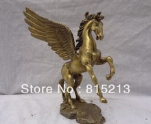 SCY 000899 8″ China Pure Brass Sculpture Animals Myth JiXiang Fly Gee Horse Bronze Statue