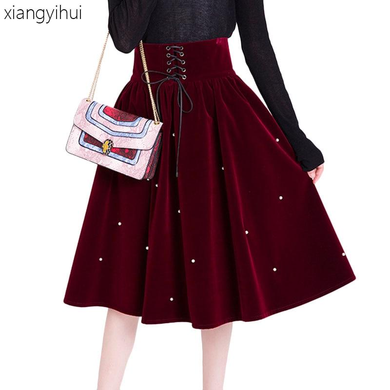 Fashio Vin longues Femmes Wine Lolita Hiver Rouge Mi Or Vintage Plissée Velours Red Jupe 2019 Taille Haute Bandage Jupes Perle Perles dtxxgq