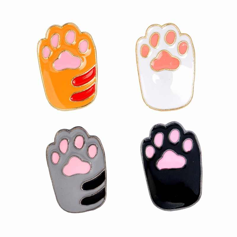 Cat Kitten Paws Enamel pins Cute Cartoon Orange White Black Grey Brooches Pins DIY Badge Gift Jewelry for Girl Kids Cat Fans