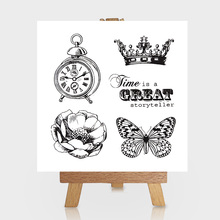 Great Crown Butterfly Clock Clear Stamps Scrapbooking DIY Silicone Seals Photo Album Embossing Folder Paper Maker Template Craft