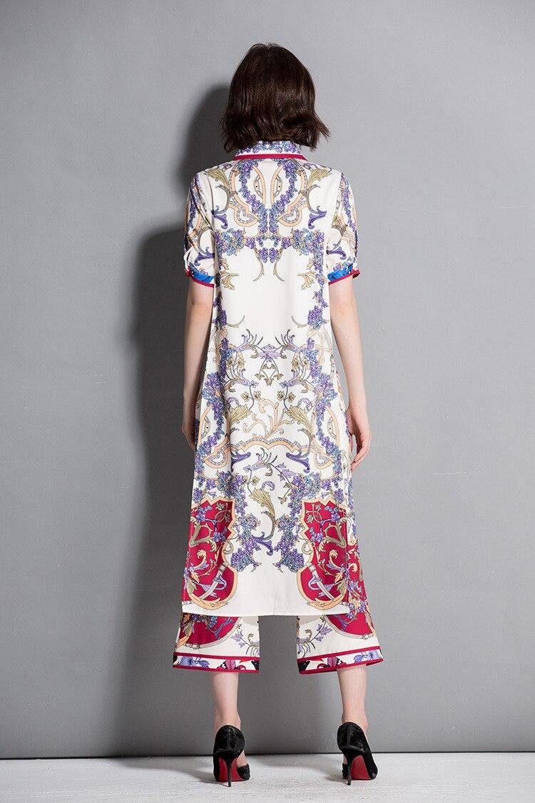 QYFCIOUFU 2018 Summer Fashion Runway Designer Two Piece Set Women Short Sleeve Printed Long Blouse Vintage Flare Pants Set Suit