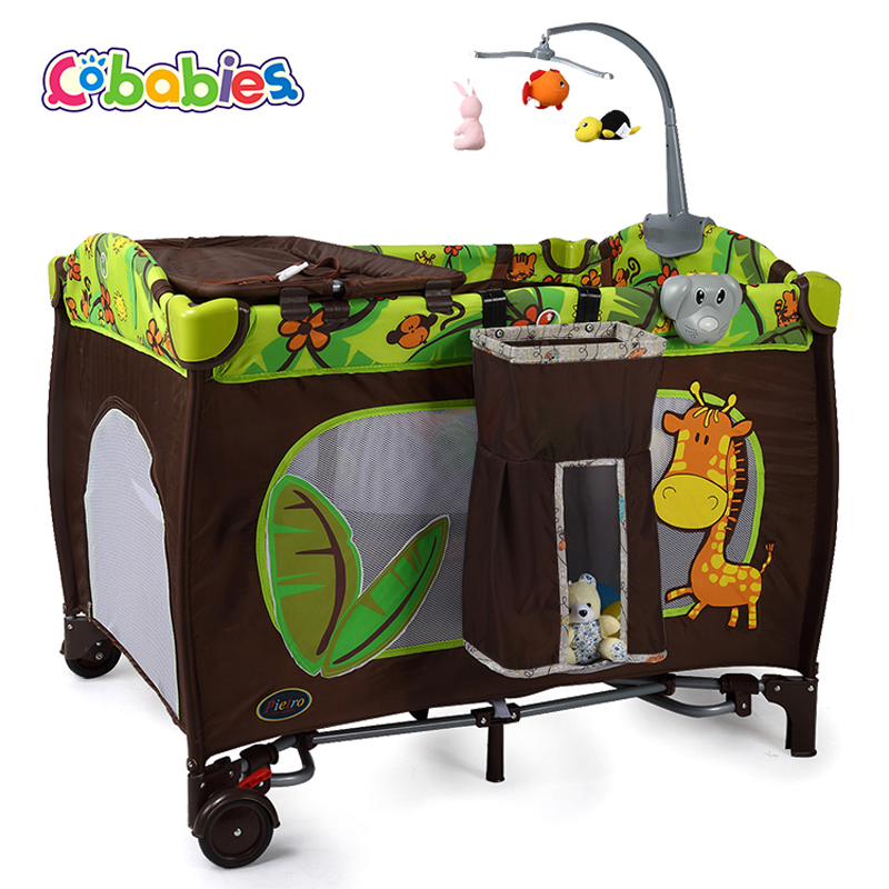 Portable Baby Crib Multi-functional Folding with Diapers Changing Table Travel Child Game Beds For Rocking function