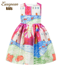 Robe Fille Chica Vestido 2016 Marca Princesa Vestido de la Muchacha Diseñador Pintura Carácter Niños Vestidos para Niñas Ropa Vetement Fille