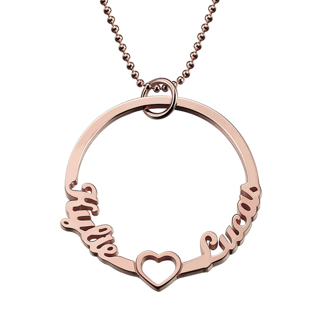 personalized rose gold color circle necklace with cut out heart 2