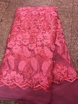 Nigerian Multicolor Beaded Lace Fabric 3D Applique RED French Tulle Lace Fabrics High Quality Embroidered French Lace Fabric CDF