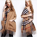 2016New Arrival Brand Autumn and Winter Warm Cashmere Tassel Scarf Shawl For Women Plaid Pattern Super big Pocket Ladies Ccarves