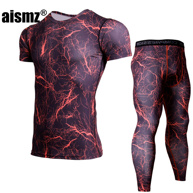 Aismz men summer tracksuit set Gray camouflage bodybuilding gyms male sportswear compression fitness mma rashguard sweatshirt