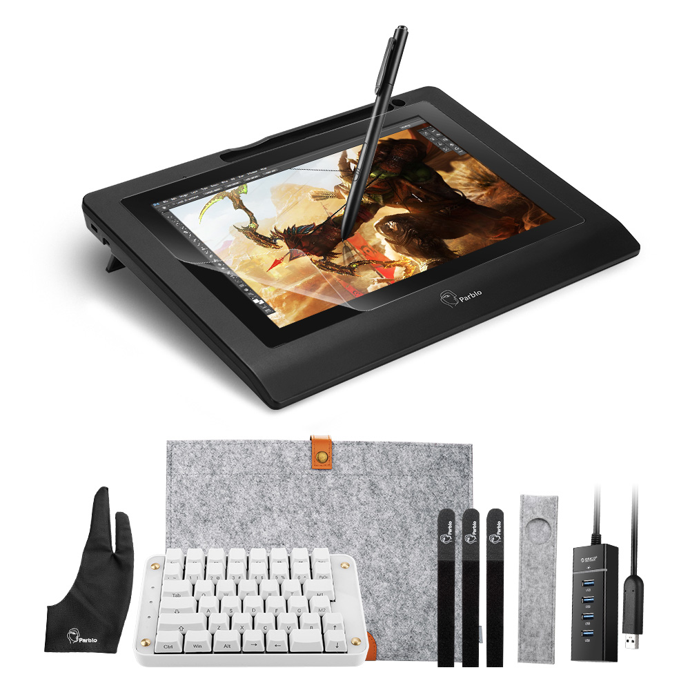 Parblo 10.1 Graphics Pen Display Drawing Monitor IPS Panel with Battery-free Pen+ Mechanical Keyboard + Screen Protector bosto kingtee 22hdx 22 full hd ips panel with battery free pen have eraser function on pen with 20 pcs express key