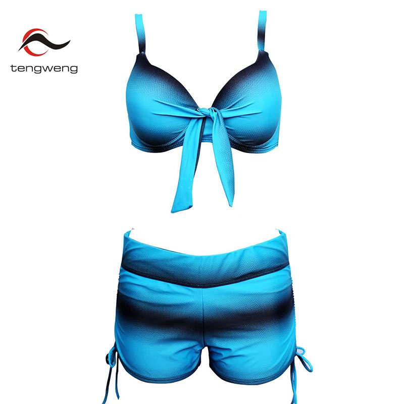 2018 Sexy Striped Push up bikini Women Plus size Swimsuit Tankini Shorts High Waist Bikinis Swimwear Female Bathing suit cheap plus size women tankini bikini set push up padded swimsuit bathing suit swimwear women s large size stripe split swimsuit