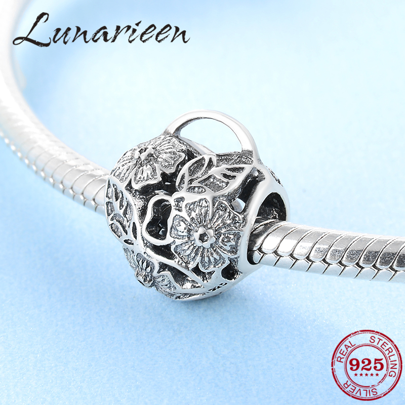 Wholesale New 925 Sterling Silver Heart Shaped Fashion Flowers Leaves Beads Fit Original Pandora Charm Bracelet Jewelry Making