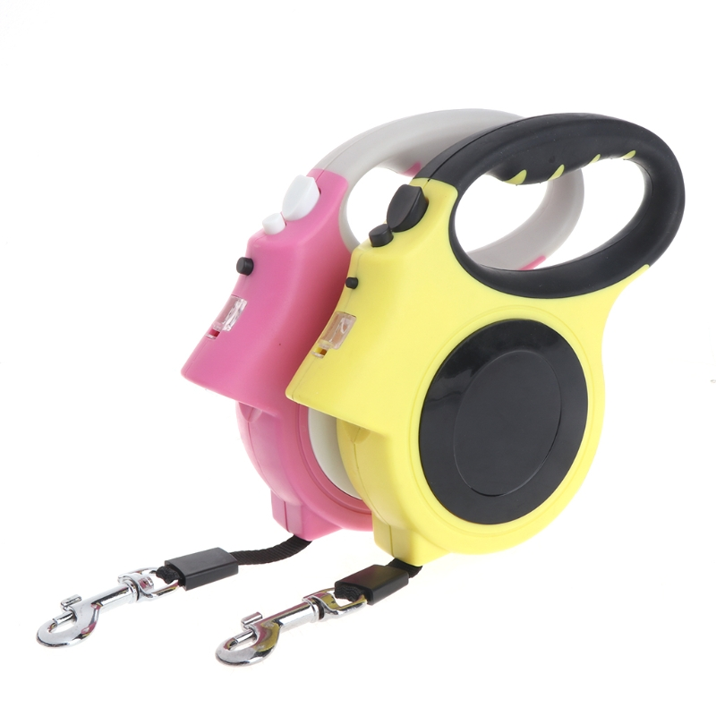 Pink/Yellow Retractable Dog Leash With Light Bright Flashlight Extending Puppy Walking Leads