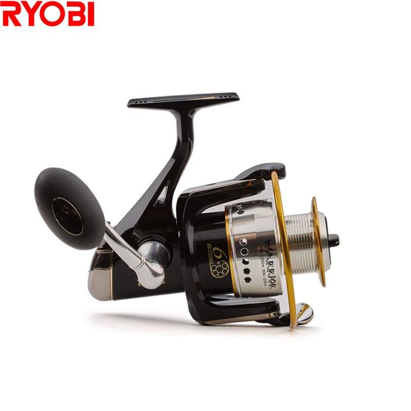 Ryobi 100% originale del giappone warrior (ecusima) spinning reel fishing 6 + 1bb/5.0: 1 molinete para pesca spinning reel moulinet peche