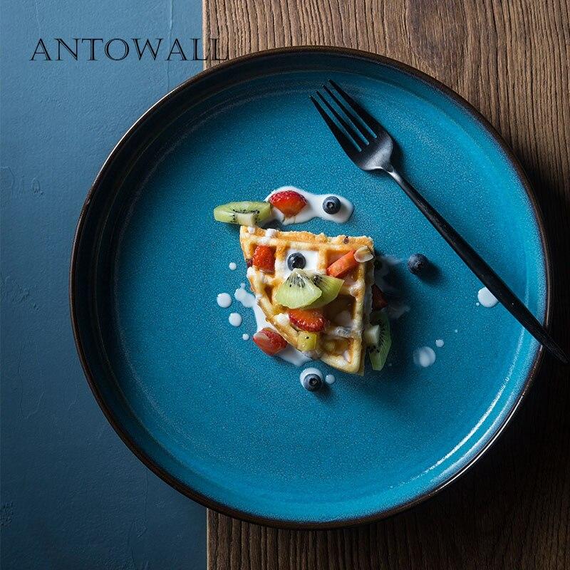 ANTOWALL ménage rétro plateau à thé assiette ronde plat en céramique thé set sous glaçure champignon vert bleu angle droit grande assiette à soupe